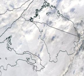Спутниковый снимок Финского залива и Ладожского озера