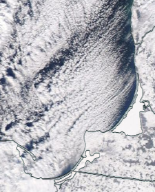 Спутниковый снимок  Куршский и Калининградский залив 2021-02-11