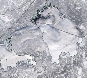 Спутниковый снимок Ладога, Финский залив 2021-02-11