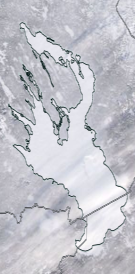Спутниковый снимок Онежского озера 2021-02-11