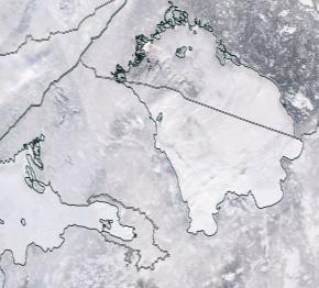 Спутниковый снимок Ладога, Финский залив 2021-02-12