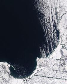 Спутниковый снимок  Куршский и Калининградский залив 2021-02-13