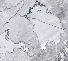 Спутниковый снимок Ладога, Финский залив 2021-02-13