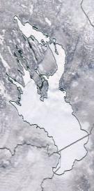 Спутниковый снимок Онежского озера 2021-02-14