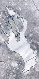 Спутниковый снимок Онежского озера 2021-02-15