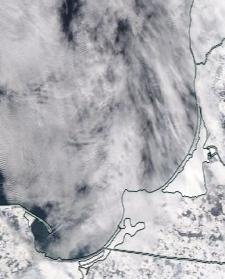 Спутниковый снимок  Куршский и Калининградский залив 2021-02-16