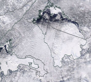 Спутниковый снимок Ладога, Финский залив 2021-02-16