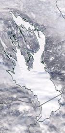 Спутниковый снимок Онежского озера 2021-02-16