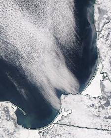 Спутниковый снимок  Куршский и Калининградский залив 2021-02-18