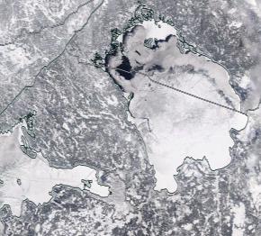 Спутниковый снимок Ладога, Финский залив 2021-02-18