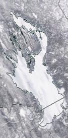 Спутниковый снимок Онежского озера 2021-02-20
