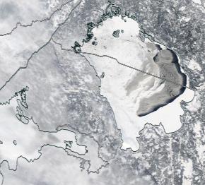 Спутниковый снимок Ладога, Финский залив 2021-02-22