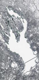 Спутниковый снимок Онежского озера 2021-02-22