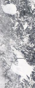 Спутниковый снимок  Рыбинского водохранилища и Белого озера 2021-02-23