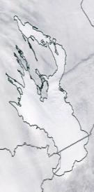 Спутниковый снимок Онежского озера 2021-02-24