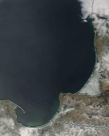 Спутниковый снимок  Куршский и Калининградский залив 2021-02-25