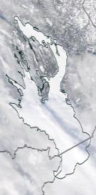 Спутниковый снимок Онежского озера 2021-02-25