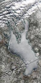 Спутниковый снимок Онежского озера 2021-04-11