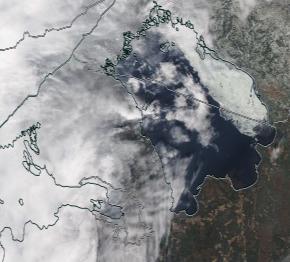 Спутниковый снимок Ладога, Финский залив 2021-04-13