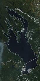 Спутниковый снимок Онежского озера 2021-07-17