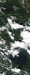Спутниковый снимок  Рыбинского водохранилища и Белого озера 2021-07-27